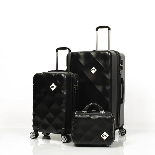 OX - Ox Square 3 lü Siyah Valiz Seti (Büyük + Kabin + Makyaj )