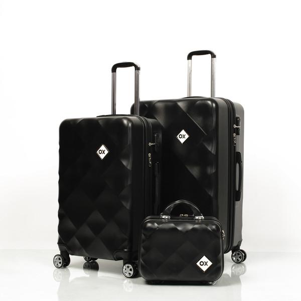 OX - Ox Square 3 lü Siyah Valiz Seti (Büyük + Orta + Makyaj )